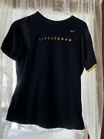 NIKE LiveStrong Black/Yellow, Dri-Fit Short Sleeve Women's Tee Shirt. Size:Large