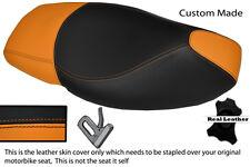 ORANGE & BLACK CUSTOM FITS PIAGGIO NRG 50 05-12 DUAL LEATHER SEAT COVER
