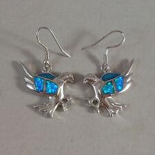 UNIQUE STERLING SILVER BLUE OPAL EAGLE EARRINGS