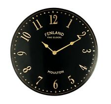 Outdoor Wall Clock Vintage Black Stable Yard Porch Gold Decoration Battery Power