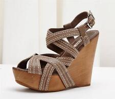 MIU MIU Taupe Stitch Leather Wooden Platform High Heel Sandal Shoe 8.5-38.5
