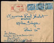 FR1155 FRANCE 1947 MULTI FRANKED REGISTERED COVER**PARIS