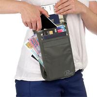 Passport Holder Travel Neck Wallet ID Documents Pouch RFID Blocking Money Belt