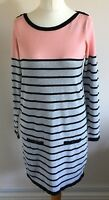 W at Bhs Size 10 Ladies Grey& Pink Jumper Dress With Black Stripes