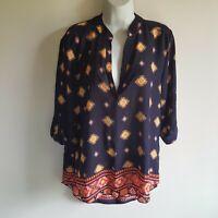 Women's L Wishful Park geometric print semi sheer v-neck 3/4 sleeve top Blue NWT