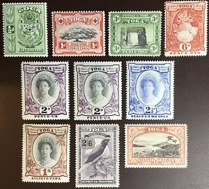 Tonga 1942-49 Multi Script Set With Both Listed 2d Pristine MNH