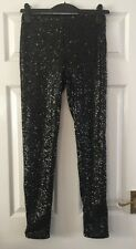 H&M BLACK SEQUINNED PARTY LEGGINGS - SIZE 8 BNWT RRP:£29.99