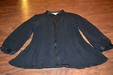 F6- New York City Design Co. Black Sheer Button Down Shirt Size M