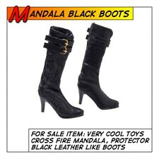 VeryCool Hot Sexy Mandala Female Black Leatherlike Boots for 1/6 12in scale Toys