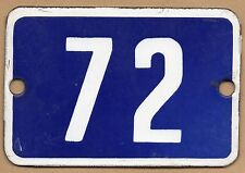 Cute old blue French house number 72 door gate plate plaque enamel metal sign