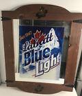 Labatt's Blue Light Mirror Beer Man Cave Bar Sign Heavy Duty Wood Frame