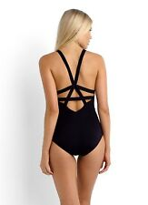 NEW Seafolly Fastlane Black Active Deep-V Maillot One Piece Swimsuit US 12 AU 16