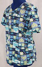 Sanibel Large Scrub Top Blue L Medical Uniform Work Shirt Heart Nursing Dental