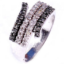 0.76 ct RAW REAL BLACK & WHITE NATURAL DIAMOND .925 STERLING SILVER RING SIZE 8
