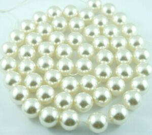 55pcs Loose Pearl Beads 16mm Cream Color Imitation Plastic Round Pearl Spacer