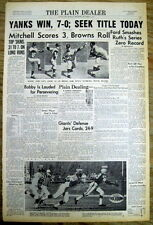 <1961 newspaper NY YANKEES World Series WHITEY FORD Breaks BABE RUTH Record