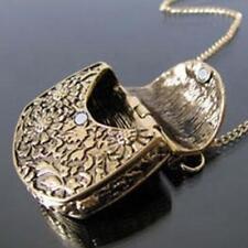 Magic Vintage Unique Bag Box Shape Carved Locket Pendant Long Chain Necklace PW