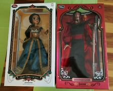 "Disney limited edition 17"" Aladdin Jasmine & Jafar Puppen - doll set - neu NEW"