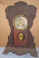 Antique Vintage NEW HAVEN Mantel 8 Day Clock Parts/Project J0713