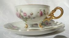 Vintage Royal Sealy Small Three foot Gold Floral Porcelain cup Saucer duo Japan