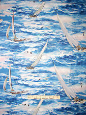 Sailboat Nautical Fabric - Sailing Boats Ocean Waves Wilmington #83038 - Yard