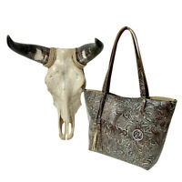 Raviani Tote Bag  Turquoise & Brown Tooled Floral Cowhide Leather Made In USA ❤️