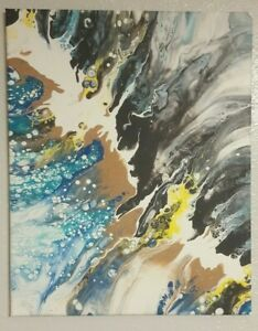 Abstract Original Pour Painting 16x20'' Multicolor Acrylic Latex Wall Art