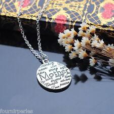 FP 1 Cadeau Pour Mère Mother Collier Chaîne Pendentif Lettres Bijoux Mode 47cm
