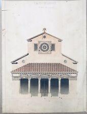 Dessin Encre Aquarelle projet église de Lugano Italie Italien XIXe Siècle