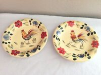 """Set of 2 HOME China Rooster  Floral  Plates 7 1/2"""" Smooth Edge 1"""" Deep"""