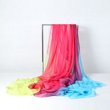 Extra Long Extra Wide Chiffon Scarf Beach Scarf Pink Purple and Blue CHD308