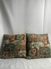 Tapestry Throw Pillows Lot Of 2 Size 16 x 15 Square Flowers