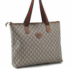 Auth GUCCI GG Plus Web Sherry Line Shoulder Tote Bag PVC Leather Brown E0893