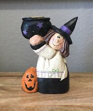 Midwest of Cannon Falls Eddie Walker Witch with Cauldron Halloween Candle Holder