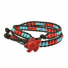 and Turquoise Double Wrap Bracelet Timeless Ocean Sea Turtle Red Coral
