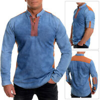 Men's Denim Shirt Band Collar V-Neck Regular Fit Roll up sleeves Elbow Patches