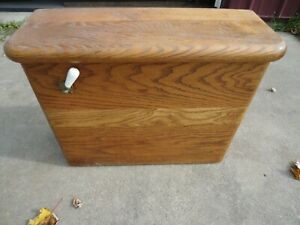 """vintage Oak Copper Lined Toilet Water Tank that is in good shape 23""""x8""""x18.5"""""""