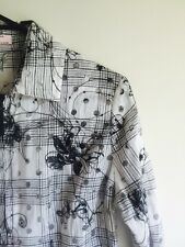 Black & White With Satin Ribbon Covers Shirt/top blouse.  Sz 10