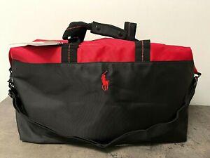NEW POLO RALPH LAUREN Men's DUFFLE Bag Travel WEEKENDER GYM Black Red Pony Logo