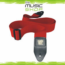 """Ernie Ball Polypro Red Guitar Strap - 2"""" Wide - Length Adjustable - New"""