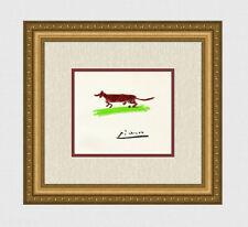 Famous 1962 Pablo PICASSO Color Limited Lithograph SAUSAGE DOG Framed SIGNED COA