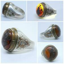 YEMENI NATURAL AGATE STONE AQEEQ AKIK SILVER COPPER MEN RING خاتم عقيق يماني