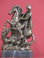 BRONZE HANDCRAFTED STATUE WARRIOR HORSE MYTHOLOGY DETAILED SCULPTURE ON MARBLE
