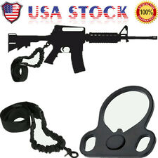 2AR 15 223 Single Point Sling With Adapter Dual Plate Mount Bungee Hunting Rifle