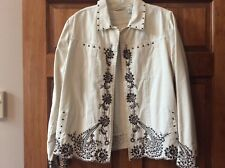 LAURA ASHLEY LARGE NWOT STRETCH BLAZER JACKET EMBROIDERED AND STUDS WESTERN