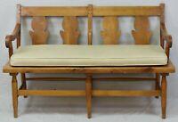 STICKLEY Pine Settee Bench Leather Cushion Leopold Stickley Original Farmhouse