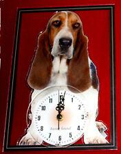 Horloge pendule chien basset hound 2 clock dog uhr hund reloj perro orologio