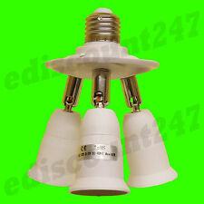 Multi-direccional E27 a 3 E27 Zócalo Splitter Adaptador de LED de fotografía de estudio de UK