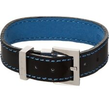 TATEOSSIAN  Navy Leather Buckle Strap Bracelet