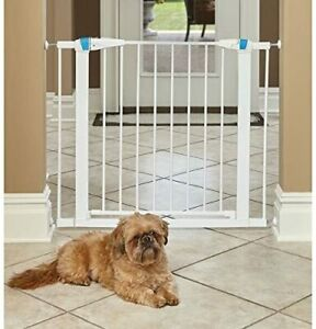 "Walk-Thru Steel Pet Gate With ""Safety Glow"" Frame, 29"" Tall 29.5-38"" Wide, White"